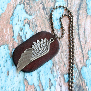 Mens necklace, leather necklace, brown leather, mens leather, wing necklace, men necklace, leather pendant, leather mens, wing jewelry