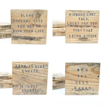Rude Pallet wood coasters. Gift Handstamped Unique Wood coasters. Funny Coasters. Set of 4 Housewarming gift. Hostess gift