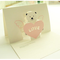 Pink Bear Love Pop Up Card