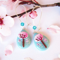 Sakura Earrings Polymer Clay Teal and Pink OOAK by FlowerLandShop