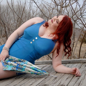 Vintage blue one-piece swimsuit, 1950s pin-up, XL plus size, Rose