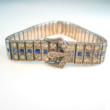 Art Deco Bracelet Sterling Silver Sapphire Blue & Paste Rhinestone PAYCO Signed Buckle 1926 Patent Vintage 1920s Wedding Jewelry