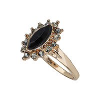 Black Facet Stone Midi Ring