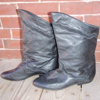 Black Leather Fold Down Ankle riding boots by DreamingTreeVintage