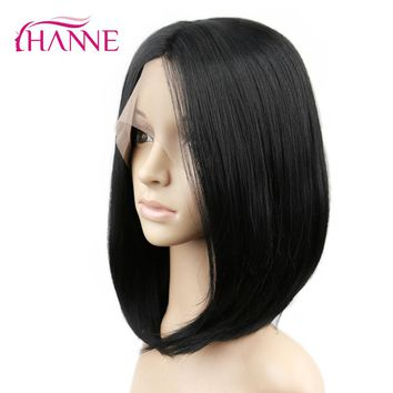 HANNE Synthetic Lace front Wig With Combs Natural Black Heat Resistant Straight Hair short Bob wigs For African American Women
