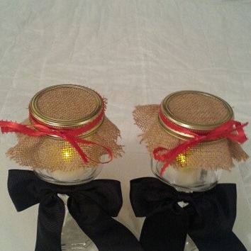 Burlap black red wedding candle jar / center piece set. Any color to match your wedding