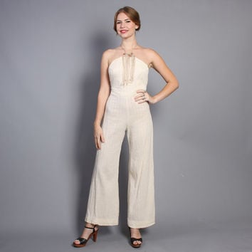 70s Bell Bottom JUMPSUIT / Beaded Fringe Halter Romper, xs