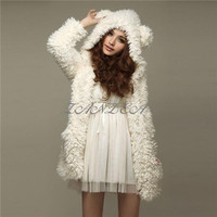 Women's Cute Bear Ear Casual Fleece Hoodie Hooded Long Coat Jacket Outwear(Beiga,BlackSize S-XL) = 1919993540