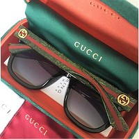 GUCCI street fashion men and women models large frame polarized sunglasses green