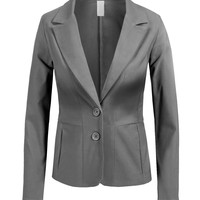 LE3NO Womens Plus Size Blazer with Stretch (CLEARANCE)
