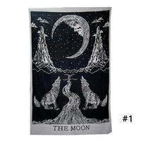 ONETOW 1 Pc Vintage Pattern Printing Tapestry Towel Black White Wolves Trees Printed Home Decoration