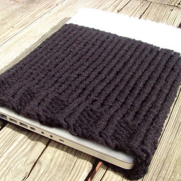 Knit Macbook Computer Case  Black and White by tessacotton on Etsy