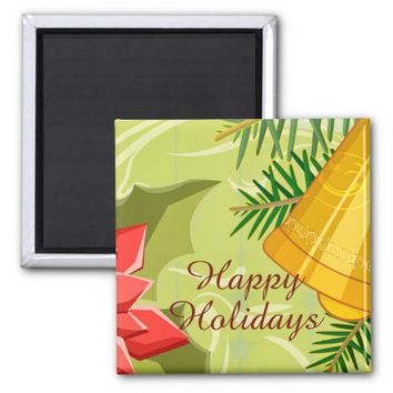 Abstract Golden Mint Christmas Square Magnet