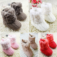 Infant Baby Toddler Crochet/Knit Fleece Boots Warm Knit Bootee Crib Shoes Socks = 1958119492
