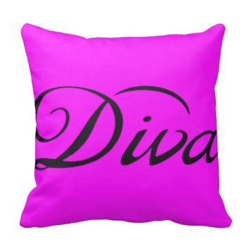 Pink and Black Diva Decorative Chic Fashion Pillow