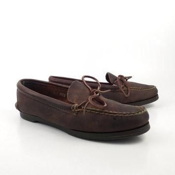 Brown Loafers Moccasins Vintage 1980s Leather Shoes Polo Country Ralph Lauren women's