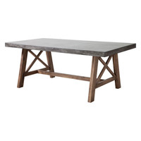 Ford Dining Table Cement/Concrete & Natural Acacia Wood