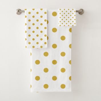 Gold Polka Dots on White Bath Towel Set