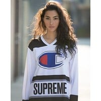 Champion X Supreme Trending Women Casual Long Sleeve Pullover Sweatshirt Top Sweater I