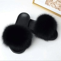 DCCK7BE 2018 Women Fashion Genuine Fox Fur Slipper Indoor Outdoor Flat Soft Summer Slide