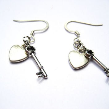 Key To My Heart Earrings Forever Love Tiny Heart and Key Jewelry Dangle Charm