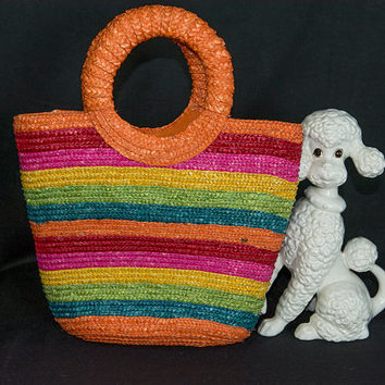 Vintage Pin-up Straw Rainbow Stripe Tote Bag Beach O Shaped Top Handle