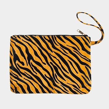 Zebra Print Large Pouch Clutch Bag