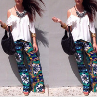 Vintage Print Palazzo Harem Baggy Trousers Hippie Joggers