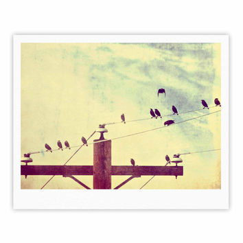"Sylvia Coomes ""Vintage Birds On A Wire 1"" Brown Vintage Fine Art Gallery Print"