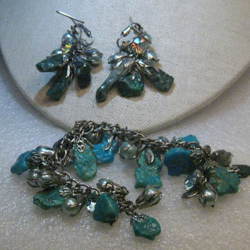 Vintage Faux Turquoise Pearl Charm Bracelet & Clip Earring Set, 1960's, Rare - Southwestern and Boho appeal.