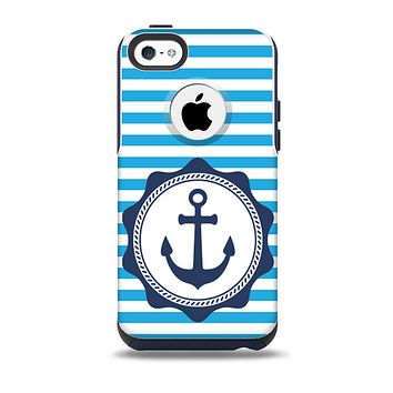 The Vector Navy Anchor with Blue Stripes Skin for the iPhone 5c OtterBox Commuter Case