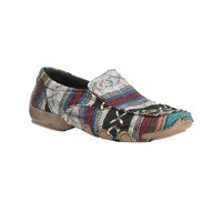 Roper Women's Multi Colored Southwest Print Slip On Casual Moccasin