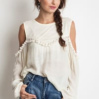 Decorative Fringe Tunic - Ivory