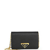 Prada - Luxe Saffiano Leather Chain Wallet - Saks Fifth Avenue Mobile