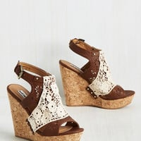 Come What Macrame Wedge in Chocolate | Mod Retro Vintage Heels | ModCloth.com