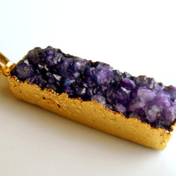 40x10x10MM Gold Plated, Purple, Electroplated, Druzy, Agate, Bar Pendant Bead, Gold Plated Pendant Bail Destash Jewelry Supplies