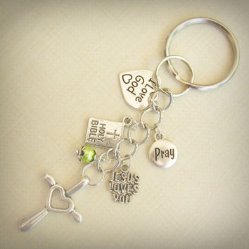 Religious Key Ring OR Zipper Pull, Personalized Swarovski Birthstone Pearl, Antique Silver Cross & Charms, Sturdy Chain, Heart Cross, WORD