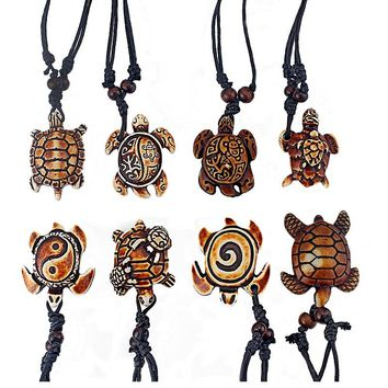 Drop 8pcs Mixed Styles Ethnic Tribal Faux Yak Bone Sea Turtle Pendants Necklace Resin Jewelry