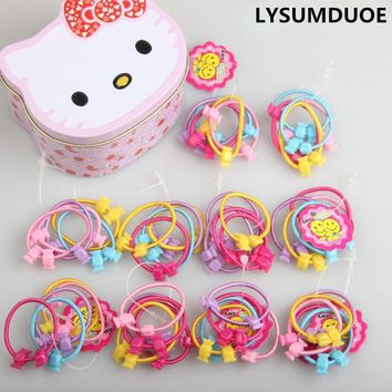 50Pcs/Set Girls Hair Accessories Elastic Hair Bands Hello Kitty Box Gift Flower Hairband Cute Headdress Candy Color Hair Band