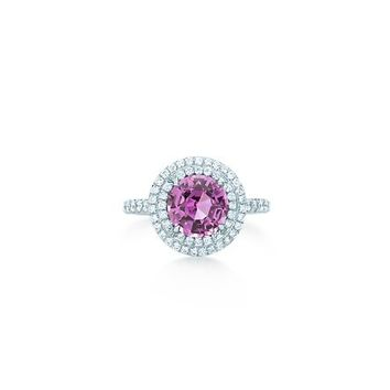 Tiffany & Co. -  Tiffany Soleste ring in platinum with diamonds and a pink sapphire.