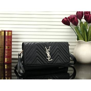 YSL Newest Fashionable Women Shopping Leather Shoulder Bag Crossbody Satchel Black