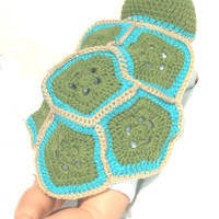 Baby Boy Turtle Shell and Hat, Photo Prop, Blue newborn turtle shell and cap, crocheted and ready to ship by  GSS~Beauty