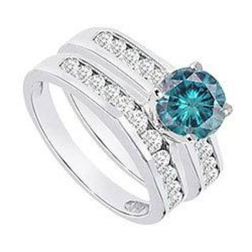Blue & White Diamond Engagement Ring with Wedding Band Sets 14K White Gold  1.15 CT TDW