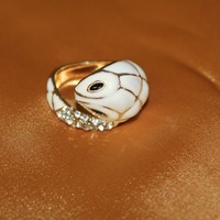 Gold and White Snake, rhinestone Tail. Ring.  Size approx 6.5. Great gift - High Fashion