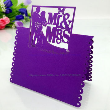 Wedding Supplies 100pcs/pack Pierced Laser Cut MR&MRS Wedding Party Table Name Place Cards Wedding Invitations 5CD037