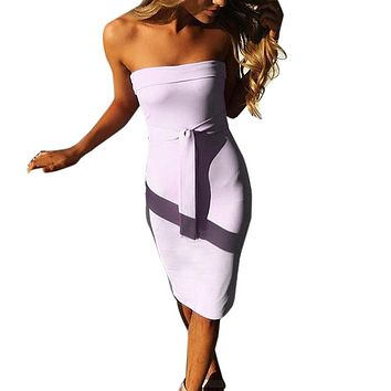 Women Sexy Lace Up Straps Soft Pencil Tight Night Party Off Shoulder Dress  Broadcloth Solid Color