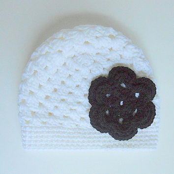 White  Hat With Black Flower 1 To 2 Year  Infant Girl Cap Baby Beanie Children Winter Cloche  Crochet Clothing  Fall  Skullcap