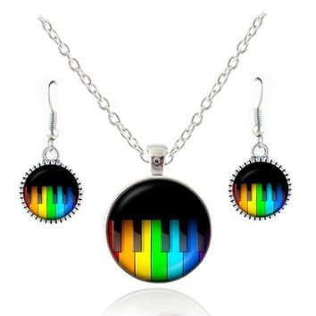 Music themed necklace and earring set