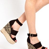 New Look Black Aztec Edpadrille Wedge Sandals