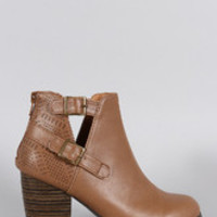 Women's Qupid Perforated Cutout Ankle Bootie